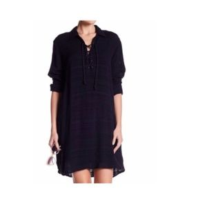 Splendid NAVY Lace-Up Linen Tunic Dress Small